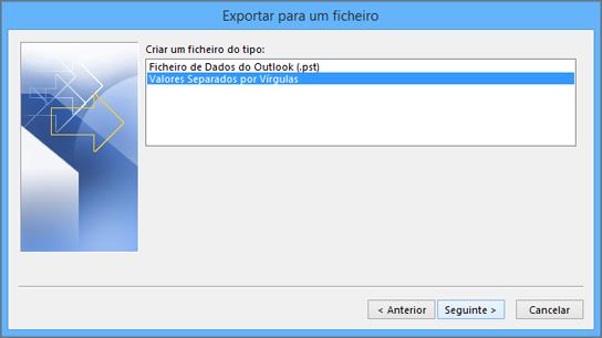 Assistente de Exportação do Outlook – Selecionar ficheiro CSV