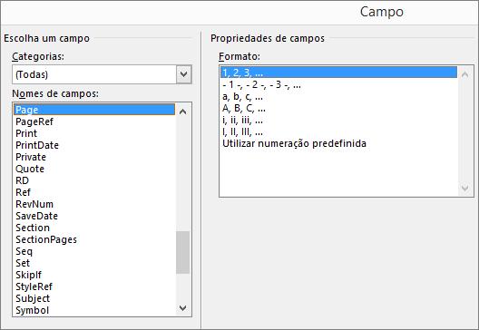 Em Ferramentas de Cabeçalho e Rodapé, no separador Estrutura, selecione Peças Rápidas e, em seguida, selecione Campo para abrir a caixa de diálogo Campo.