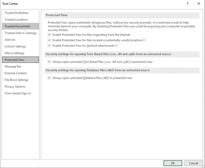 Configurações de visualização protegida do Centro de Confiança