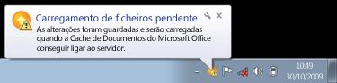 Notificações de pop-up do Centro de Carregamento