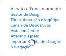 Secção de aparência e funcionamento das definições do site com alterar o olhar realçado