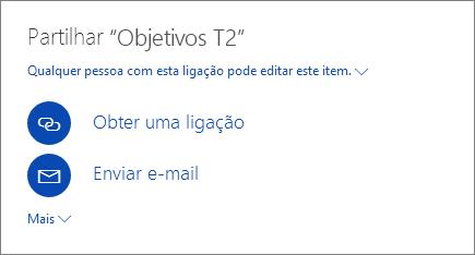 Captura de ecrã a mostrar como partilhar um ficheiro no OneDrive