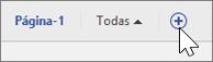 Captura de ecrã a mostrar o ícone para adicionar/eliminar uma página