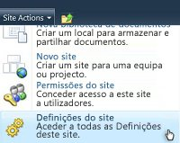 menu definições do site