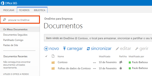 Captura de Ecrã da Caixa de Consulta do One Drive no Office 365