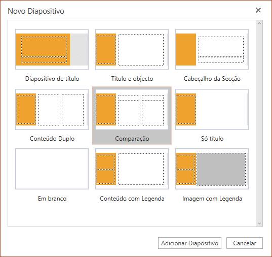 A caixa de diálogo Novo Diapositivo no PowerPoint Online tem diversos esquemas à escolha