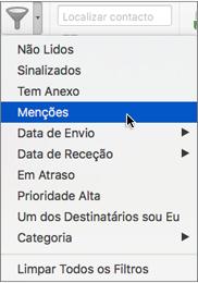Utilize a opção Menções no menu Filtrar E-mail para procurar os e-mails onde foi mencionado com @
