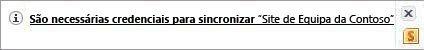 Alerta de sincronização na área de notificação do Windows