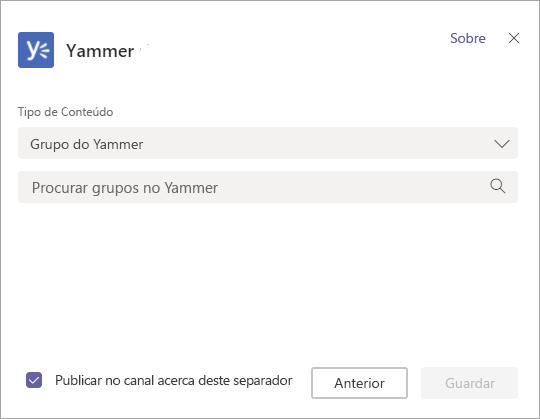 Ecrã para selecionar um grupo Yammer para exibir em Equipas