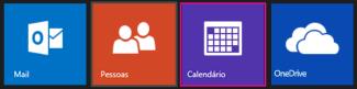 Menu Principal do Outlook.com - selecionar Calendário