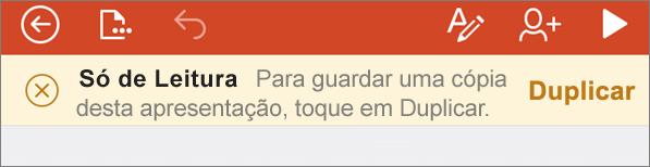Apresenta a notificação Só de Leitura depois de abrir um ficheiro ODF no PowerPoint para iPhone