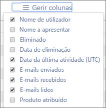 Relatórios do Office 365 – selecionar as colunas para os relatórios de atividade de e-mail