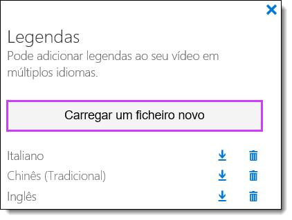 Lista de legendas de vídeo do Office 365