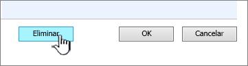 Botão eliminar coluna na parte inferior da página Definições de coluna