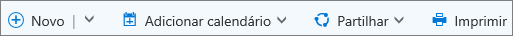 Barra de comando do calendário do Outlook.com
