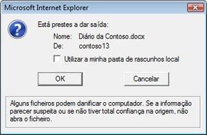 Caixa de mensagem que oferece a oportunidade de manter o ficheiro com saída dada numa pasta de rascunhos local