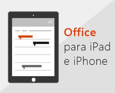 Clique para configurar as aplicações do Office no iOS