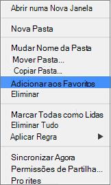 Adicionar a opção de Favoritos no menu de contexto