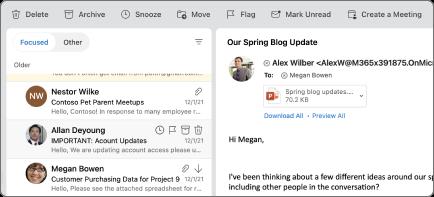 Botão de soneca no Outlook for Mac.