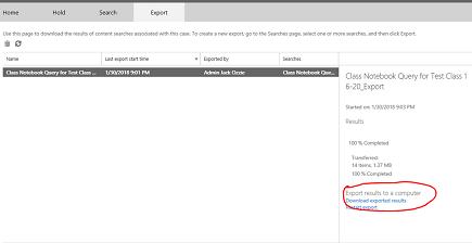 Transferir resultados exportados