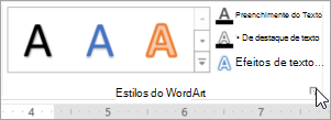 Selecionar no iniciador de caixa de diálogo de estilos do WordArt