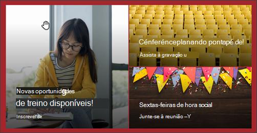 Captura de ecrã da peça Web Destac