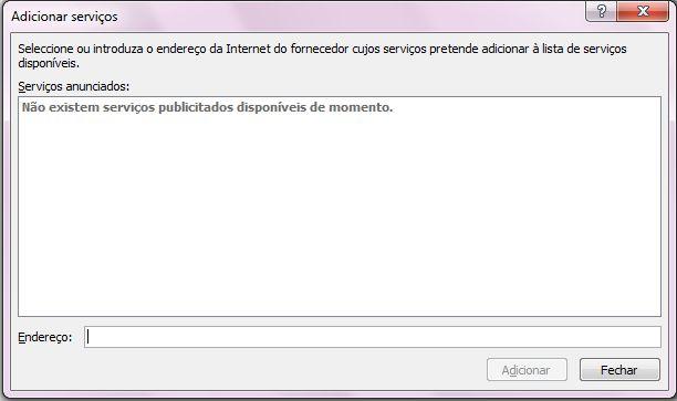 Captura de ecrã da caixa Adicionar Serviços, que faz parte das Opções de Pesquisa
