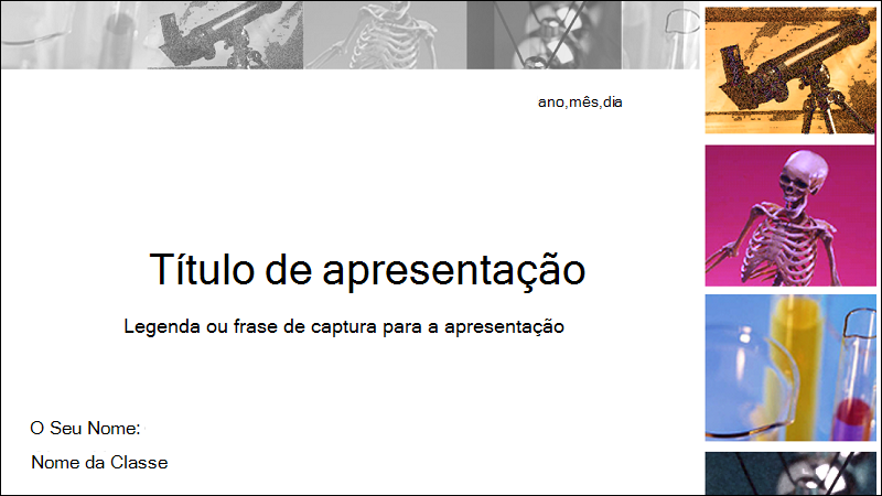 Captura de ecrã da capa de um modelo de relatório dechience