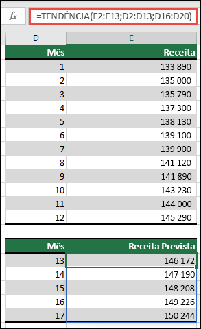 Use o TREND para prever o desempenho da receita durante os meses 13-17 quando tiver os reais durante os meses 1-12.