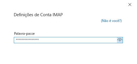 Caixa de diálogo Configuração da Conta, página d palavra-passe.