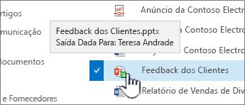 paire o cursor sobre o ícone com a seta verde e veja quem tem um ficheiro com saída dada.