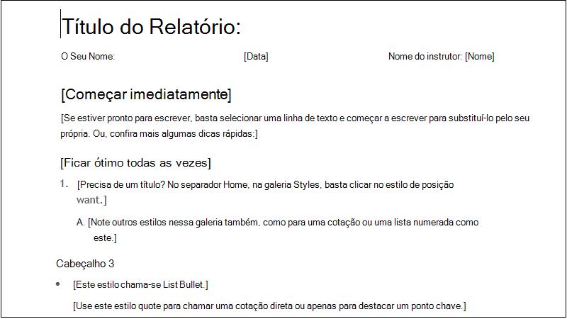 captura de ecrã de um relatório de estudante simples