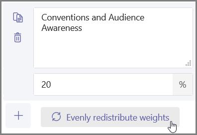 """Clique no botão """"Distribuir pesos uniformemente"""" para atribuir automaticamente percentagens e pontos"""