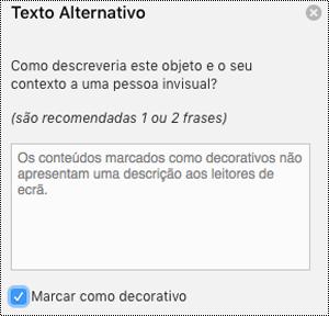 Marcar como decorativa caixa de verificação selecionada no painel de texto alternativo no Excel para Mac