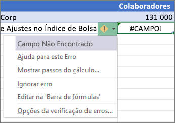 Ignorar um erro #CAMPO!