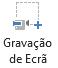 O botão de Gravação de Ecrã no separador Gravação no PowerPoint 2016