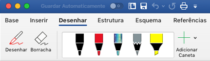Canetas e marcadores no separador desenhar no Office 365 para Mac