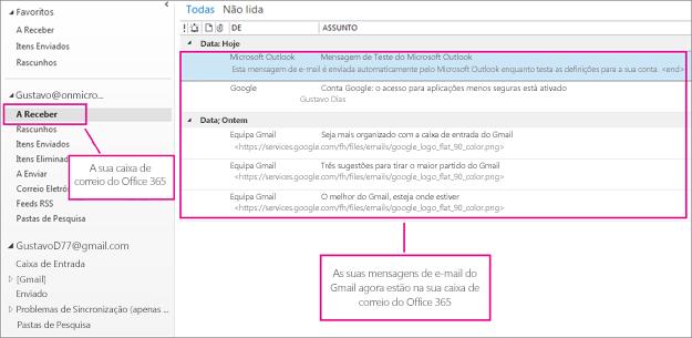 Após importar o e-mail para a sua caixa de correio do Office 365, o mesmo aparecerá em dois locais.