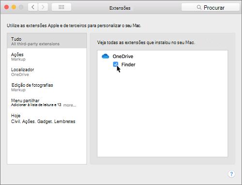 Captura de ecrã a mostrar as Extensões nas preferências do sistema num Mac