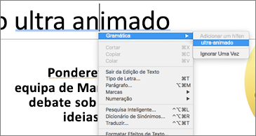 Palavras sublinhadas a azul com o menu contextual a mostrar sugestões gramaticais