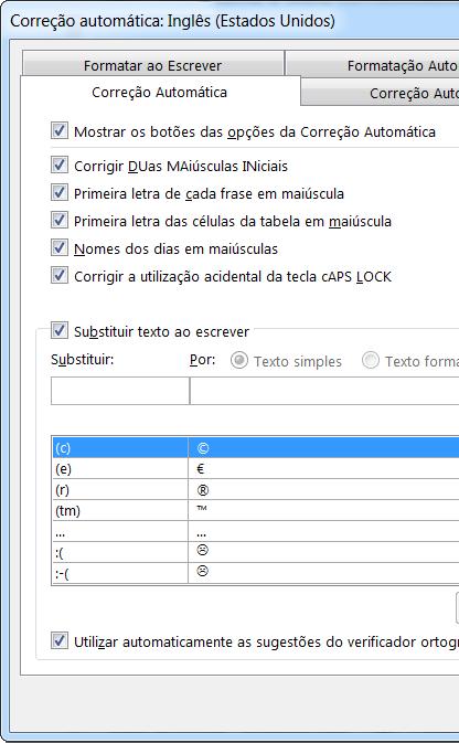 caixa de diálogo correção automática