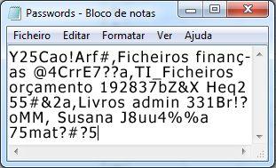 Lista de palavras-passe num ficheiro do Bloco de Notas