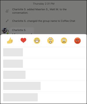 O ecrã de opções de mensagem em Equipas