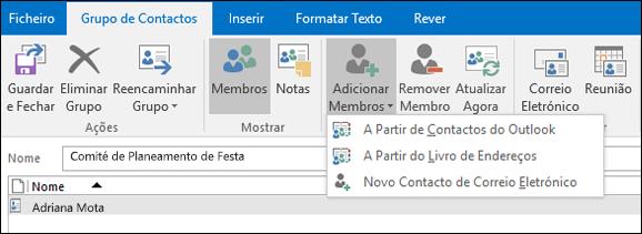 Selecione adicionar membros para adicionar ao seu grupo de contactos.