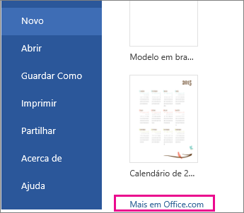 clique em Mais em Office.com