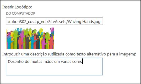 Caixa de diálogo Título e Logótipo do Novo Site do SharePoint Online, que mostra como criar o texto alternativo para a imagem do logótipo