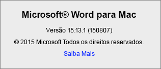 Captura de ecrã a mostrar a página Acerca do Word no Word para Mac