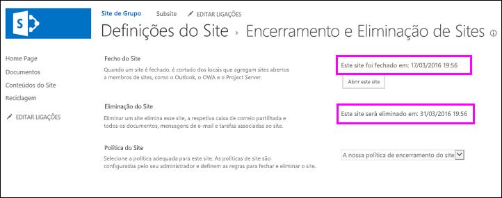 Página de encerramento e eliminação do site mostrando datas