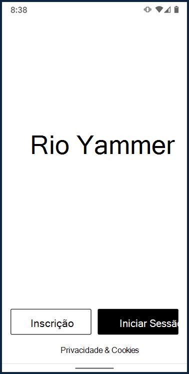 Screenshot mostrando ecrã de login para app Yammer Android