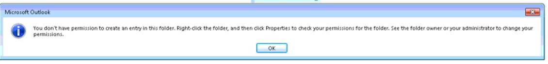 Erro do Outlook sobre o Calendário Partilhado